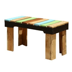 Modern Rustic Rainbow Pallet Wood Backless Bench