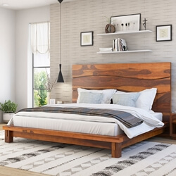 Santa Barbara Solid Wood High Headboard Platform Bed