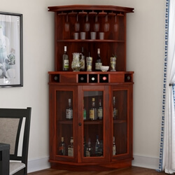 Solid Wood Corner Liquor Display Cabinet With Wine Storage