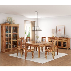 Peoria Rustic Solid Wood 11 Piece Square Dining Room Set