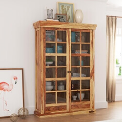 Peoria Rustic Solid Wood Glass Door Large Storage Cabinet