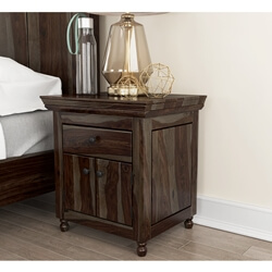 Jerold Modern Rustic Solid Wood Shutter Door 1 Drawer Nightstand