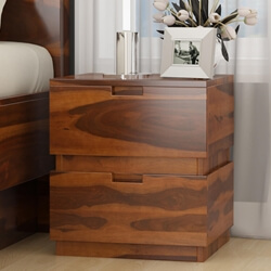 Modern Simplicity Box Style Solid Wood Nightstand with Drawers