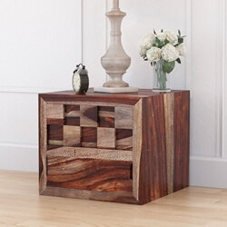 Checkered Solid Wood Flip Door Captains Bedside Nightstand
