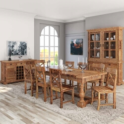 Britain Rustic Teak Wood Trestle Base 11 Piece Dining Room Set