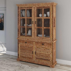 Britain Rustic Teak Wood Tall Handcrafted China Cabinet