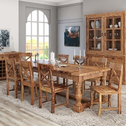 Large Britain Rustic Trestle Baluster Dining Table and Chair Set