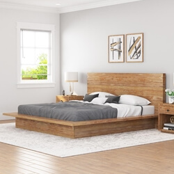 Britain Low Height Farmhouse Teak Wood Platform Bed Frame With Headboard