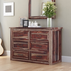 Jamaica Modern Solid Wood Bedroom Dresser Chest With 6 Drawers