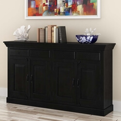 Urban Rustic Solid Wood 4 Drawer Dining Large Buffet Cabinet