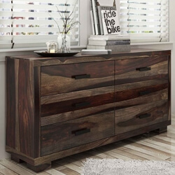 Virginia Rustic Solid Wood Modern Long Dresser With 6 Drawers