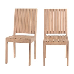 Ottoville Stylish Teak Wood Slatted Back Dining Chair (Set of 2)