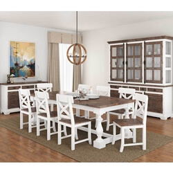 Danville Modern Teak and Mahogany Wood 11 Piece Dining Room Set