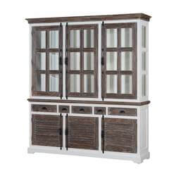 Danville Modern Teak & Solid Wood Glass Door Dining Room Hutch Cabinet