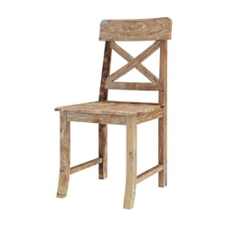 Britain Rustic Teak Wood Dining Chair with X Shaped Dining Chair