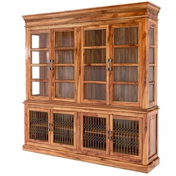 San Francisco Handcrafted Solid Wood Glass Door Large Kitchen Hutch