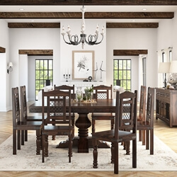 Florida Handcrafted Exquisite Solid Wood 10 Piece Dining Room Set