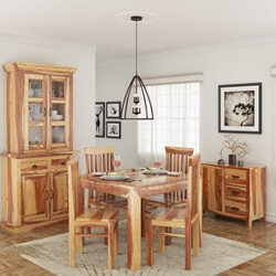 Ostrander Rustic Solid Wood 7 Piece Dining Room Set