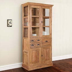 Hameldon Rustic Reclaimed Teak Wood Glass Door Dining Hutch Cabinet
