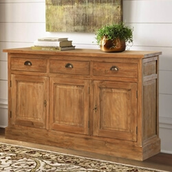 Heurich Traditional Reclaimed Teak Wood 3 Drawer Large Sideboard