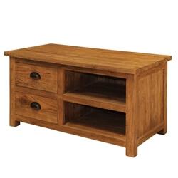 Genoa Contemporary Reclaimed Teak Wood Open Shelves 2 Drawer TV Stand