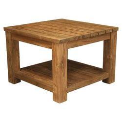 Cainhoe Rustic Reclaimed Teak Wood 2 Tier Square Plank Coffee Table
