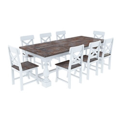 Danville Farmhouse Two-Tone Solid Wood Dining Table With 8 Chairs Set