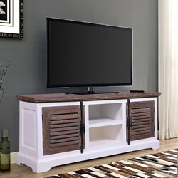 Selfoss Rustic Teak Wood and Solid Wood Louvered Door TV Stand