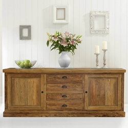 Centralia Rustic Reclaimed Teakwood 4 Drawer Large Sideboard Cabinet