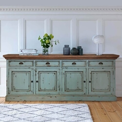 Scranton Ocean Blue Two Tone Solid Wood Extra Long Sideboard
