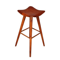 Oria Stylish Mahogany Wood Saddle Seat Bar Stool