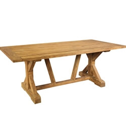 Fulton Recycled Teak Wood Trestle Base Large Farmhouse Dining Table