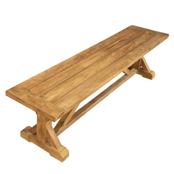 Fulton Stylish Teak Wood Trestle Base Dining Bench