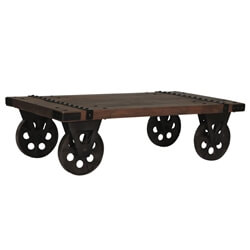 Somers Rustic Recycled Teak Wood Industrial Factory Cart Coffee Table