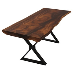 Clifton Handcrafted Industrial Live Edge Single Slab Dining Table