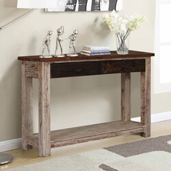 Santino Rugged Reclaimed Wood 2 Drawer Entryway Console Table