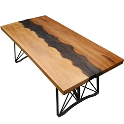 Torrance Iron Base Live Edge Large Industrial Dining Table