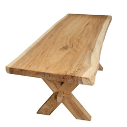 Single Slab Seneca Natural X Base Solid Wood Live Edge Dining Table
