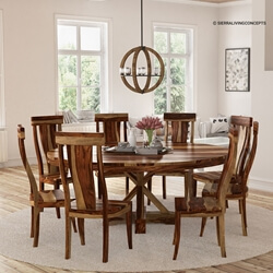 "Bedford X Pedestal Rustic 72"" Round Dining Table With 8 Chairs Set"