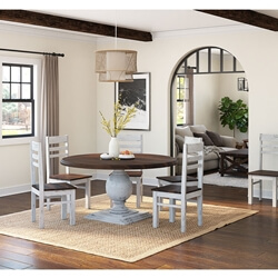 "Illinois Two Tone Large Round 72"" Dining Table With 8 Chairs Set"