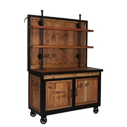 Mapleton Reclaimed Wood Rolling Wheel Industrial Storage Cabinet