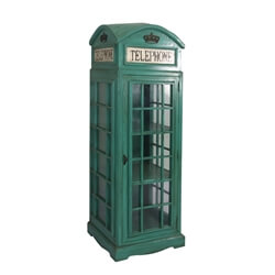 Camden London Green Telephone Booth Mahogany Wood Display Cabinet