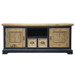 Carterville Rustic Teak and Mahogany Wood TV Stand Media Cabinet
