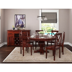 Missouri Solid Wood 8 Piece Round Dining Room Set