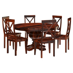 Missouri Solid Wood Round Pedestal Dining Table 6 Chairs Set