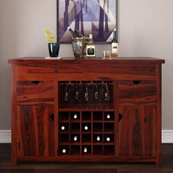 Missouri Solid Wood Bar Buffet Cabinet With Glass Stem Rack and Wine Storage