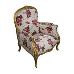 Vancouver Traditional Solid Wood Carnation Floral Fabric Arm Chair