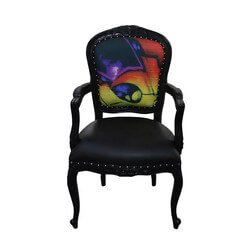Horsham Colorful Graffiti Mahogany Wood Traditional Black Arm Chair