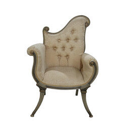 Florence Asymmetrical Mahogany Wood Ivory Swirl Upholstered Arm Chair