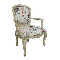Atlantic Hand Carved Chic Wanderlust Solid Wood Fabric Arm Chair